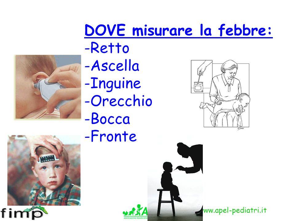 www.apel-pediatri.it DOVE misurare la febbre: -Retto -Ascella -Inguine -Orecchio -Bocca -Fronte