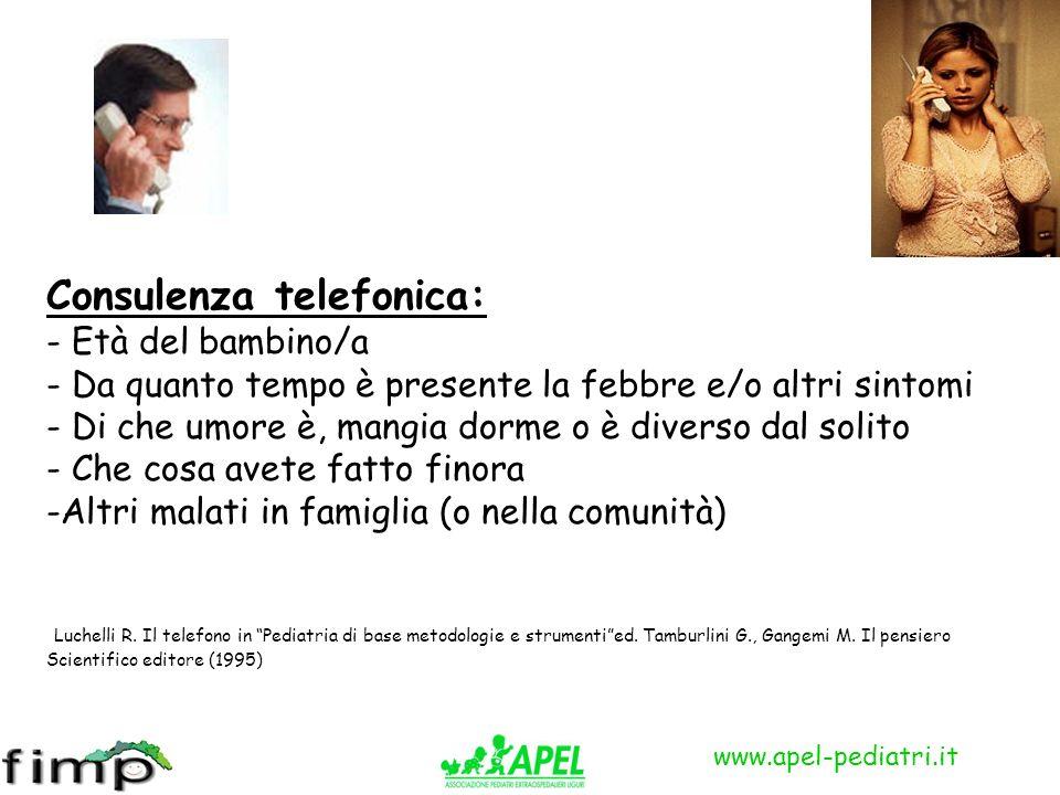 www.apel-pediatri.it Consulenza telefonica: - Età del bambino/a - Da quanto tempo è presente la febbre e/o altri sintomi - Di che umore è, mangia dorm
