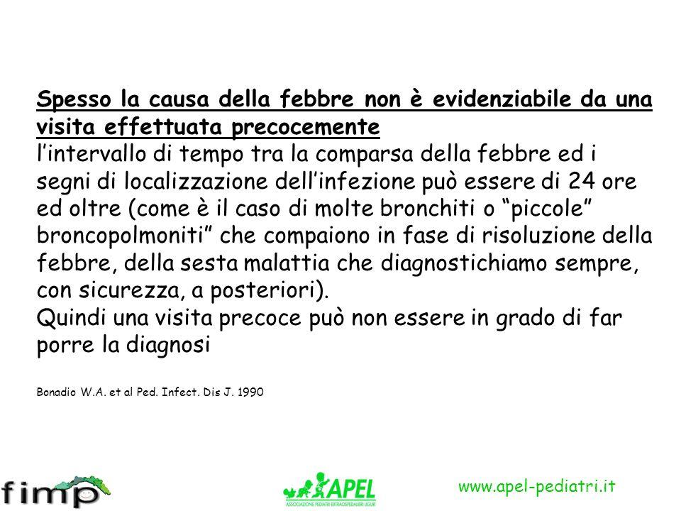 www.apel-pediatri.it Spesso la causa della febbre non è evidenziabile da una visita effettuata precocemente lintervallo di tempo tra la comparsa della