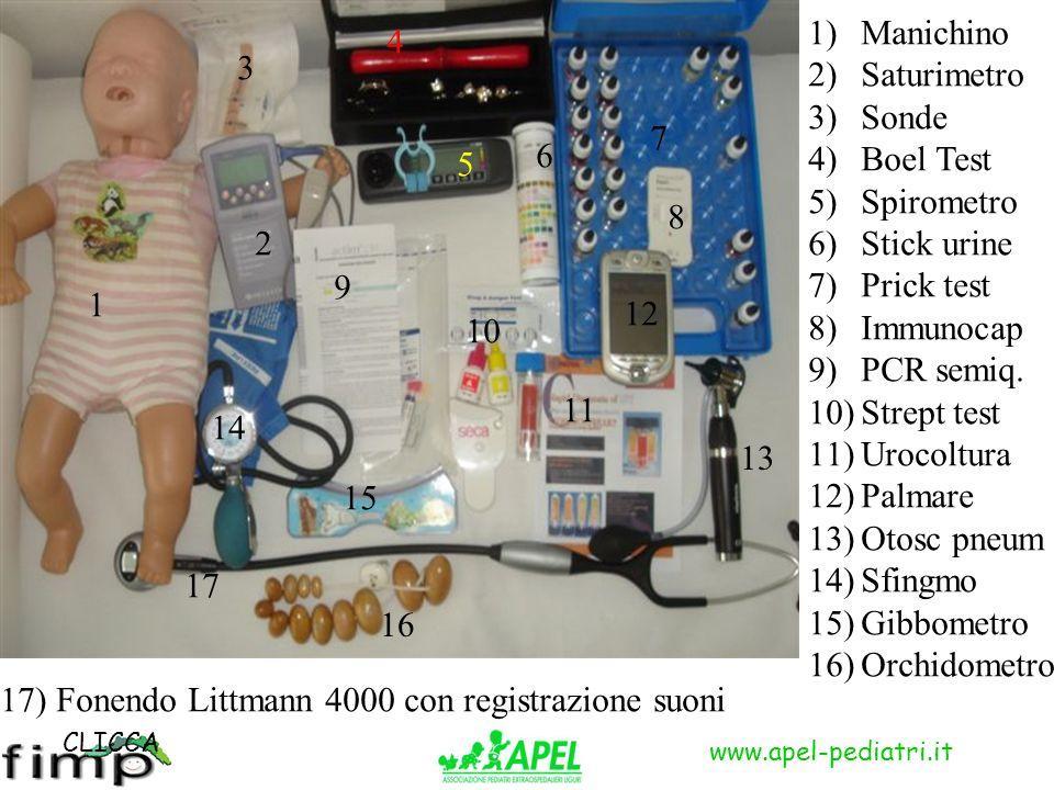 www.apel-pediatri.it 1 1)Manichino 2)Saturimetro 3)Sonde 4)Boel Test 5)Spirometro 6)Stick urine 7)Prick test 8)Immunocap 9)PCR semiq.