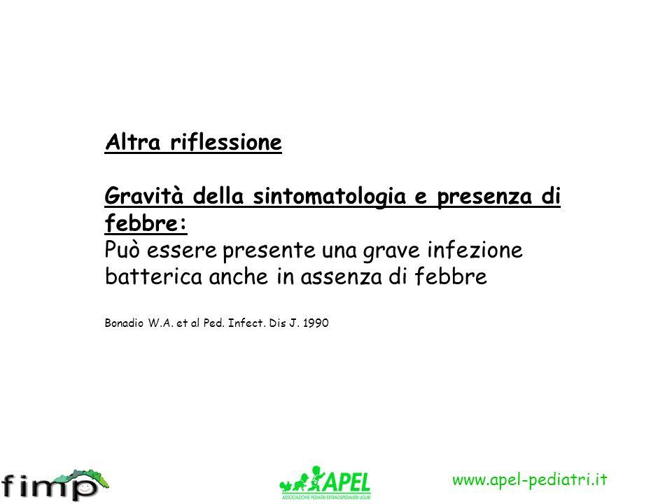 www.apel-pediatri.it Altra riflessione Gravità della sintomatologia e presenza di febbre: Può essere presente una grave infezione batterica anche in a