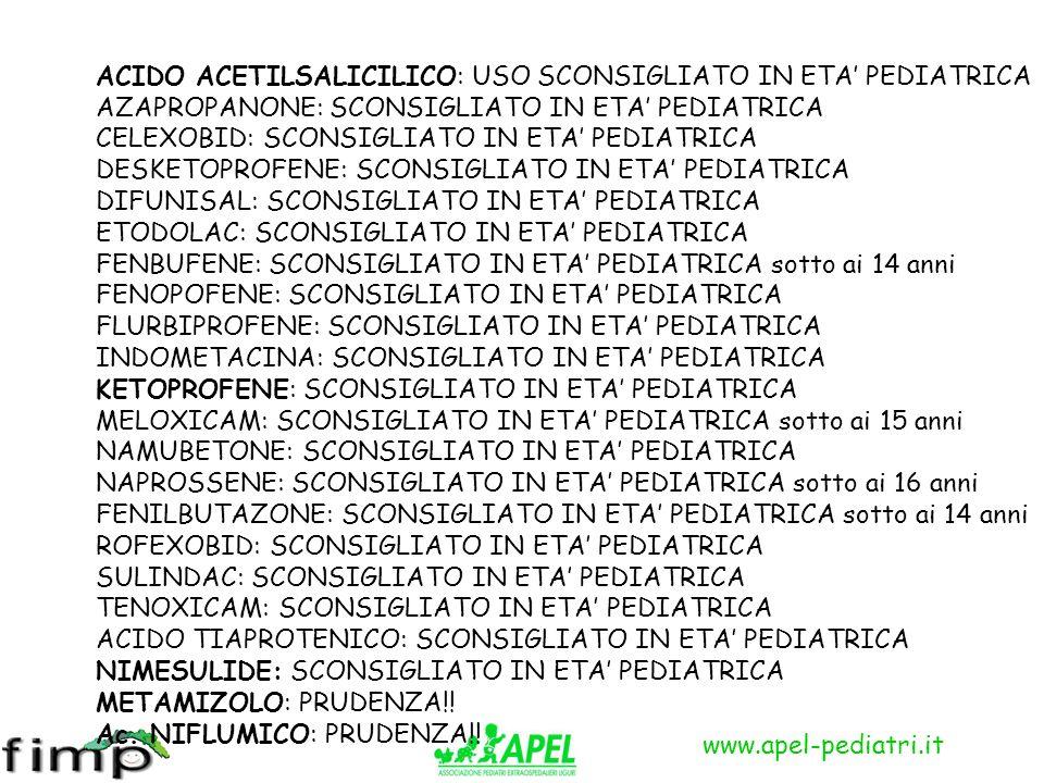 www.apel-pediatri.it ACIDO ACETILSALICILICO: USO SCONSIGLIATO IN ETA PEDIATRICA AZAPROPANONE: SCONSIGLIATO IN ETA PEDIATRICA CELEXOBID: SCONSIGLIATO I