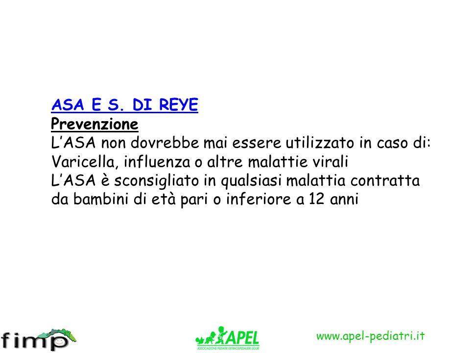 ASA E S. DI REYE Prevenzione LASA non dovrebbe mai essere utilizzato in caso di: Varicella, influenza o altre malattie virali LASA è sconsigliato in q