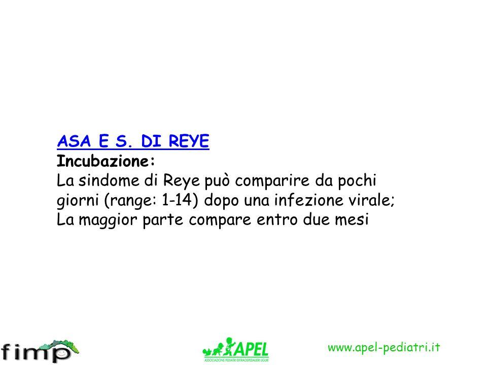 www.apel-pediatri.it ASA E S. DI REYE Incubazione: La sindome di Reye può comparire da pochi giorni (range: 1-14) dopo una infezione virale; La maggio