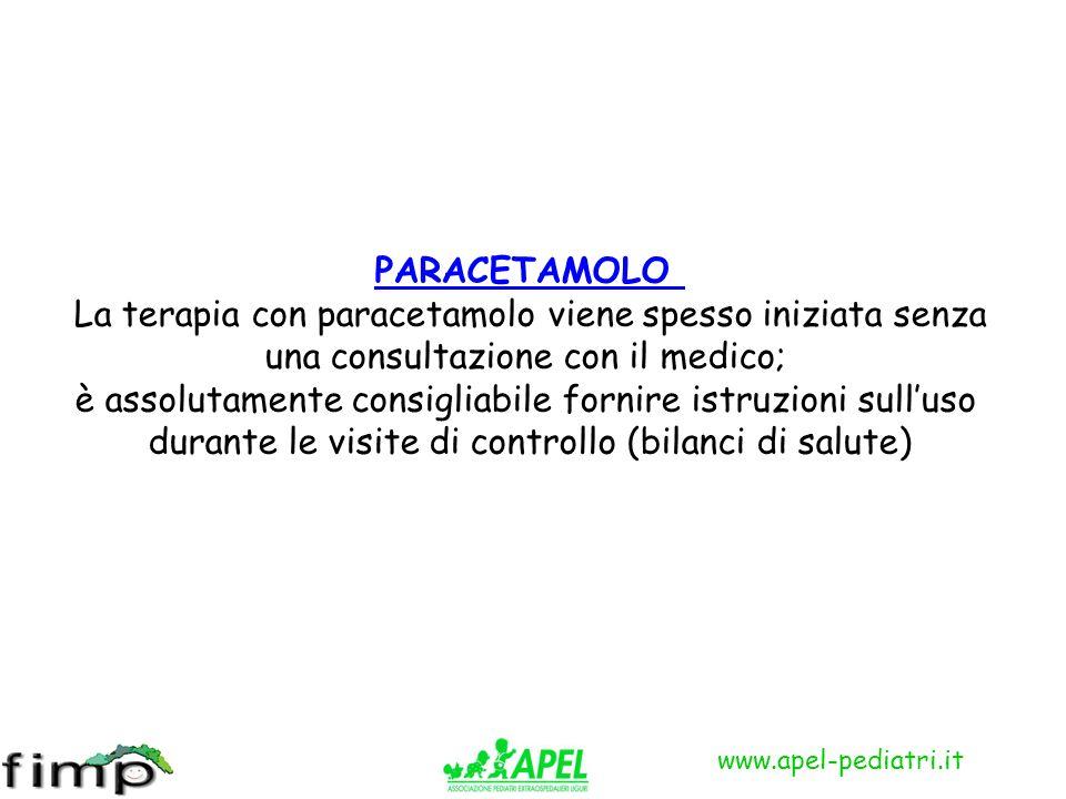 www.apel-pediatri.it PARACETAMOLO La terapia con paracetamolo viene spesso iniziata senza una consultazione con il medico; è assolutamente consigliabi