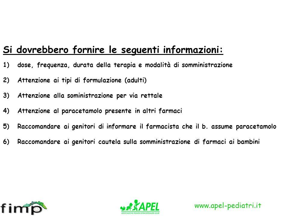 www.apel-pediatri.it Si dovrebbero fornire le seguenti informazioni: 1)dose, frequenza, durata della terapia e modalità di somministrazione 2)Attenzio
