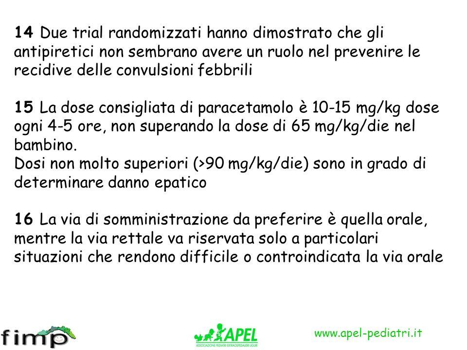 www.apel-pediatri.it 14 Due trial randomizzati hanno dimostrato che gli antipiretici non sembrano avere un ruolo nel prevenire le recidive delle convu