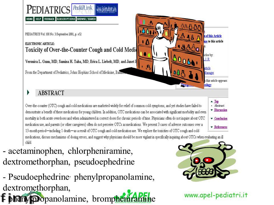 www.apel-pediatri.it - acetaminophen, chlorpheniramine, dextromethorphan, pseudoephedrine - Pseudoephedrine, phenylpropanolamine, dextromethorphan, - phenylpropanolamine, brompheniramine