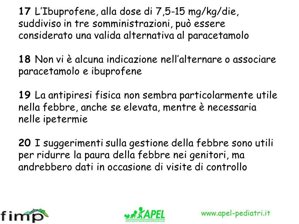 www.apel-pediatri.it 17 LIbuprofene, alla dose di 7,5-15 mg/kg/die, suddiviso in tre somministrazioni, può essere considerato una valida alternativa a
