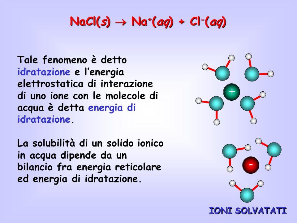 IONI SOLVATATI NaCl(s) Na + (aq) + Cl - (aq) + - Tale fenomeno è detto idratazione e lenergia elettrostatica di interazione di uno ione con le molecol