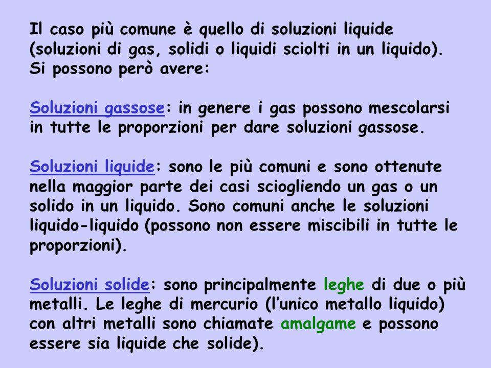 Il caso più comune è quello di soluzioni liquide (soluzioni di gas, solidi o liquidi sciolti in un liquido). Si possono però avere: Soluzioni gassose: