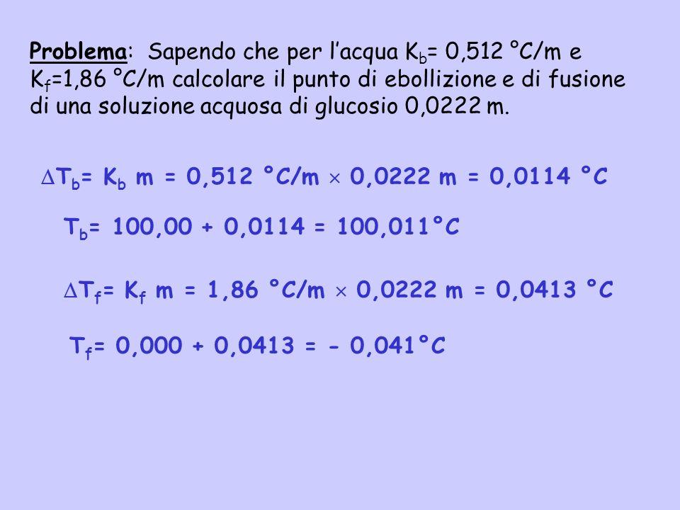 Problema: Sapendo che per lacqua K b = 0,512 °C/m e K f =1,86 °C/m calcolare il punto di ebollizione e di fusione di una soluzione acquosa di glucosio