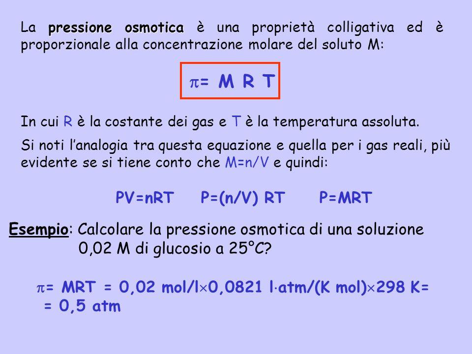 pressione osmotica La pressione osmotica è una proprietà colligativa ed è proporzionale alla concentrazione molare del soluto M: = M R T In cui R è la