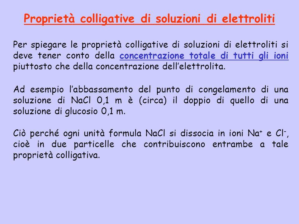 Proprietà colligative di soluzioni di elettroliti Per spiegare le proprietà colligative di soluzioni di elettroliti si deve tener conto della concentr
