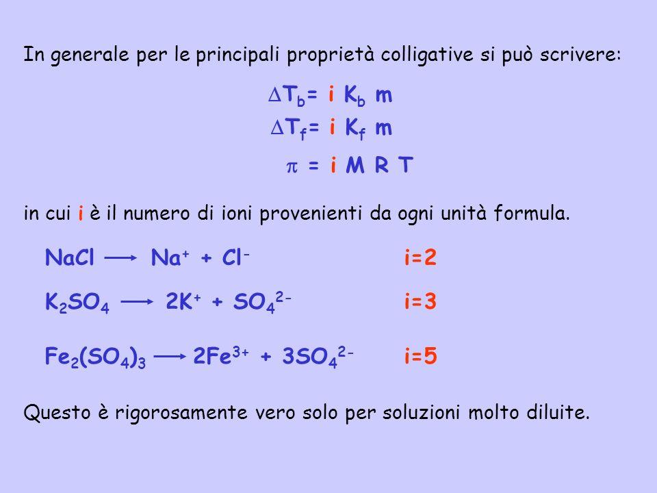 In generale per le principali proprietà colligative si può scrivere: in cui i è il numero di ioni provenienti da ogni unità formula. = i M R T T b = i