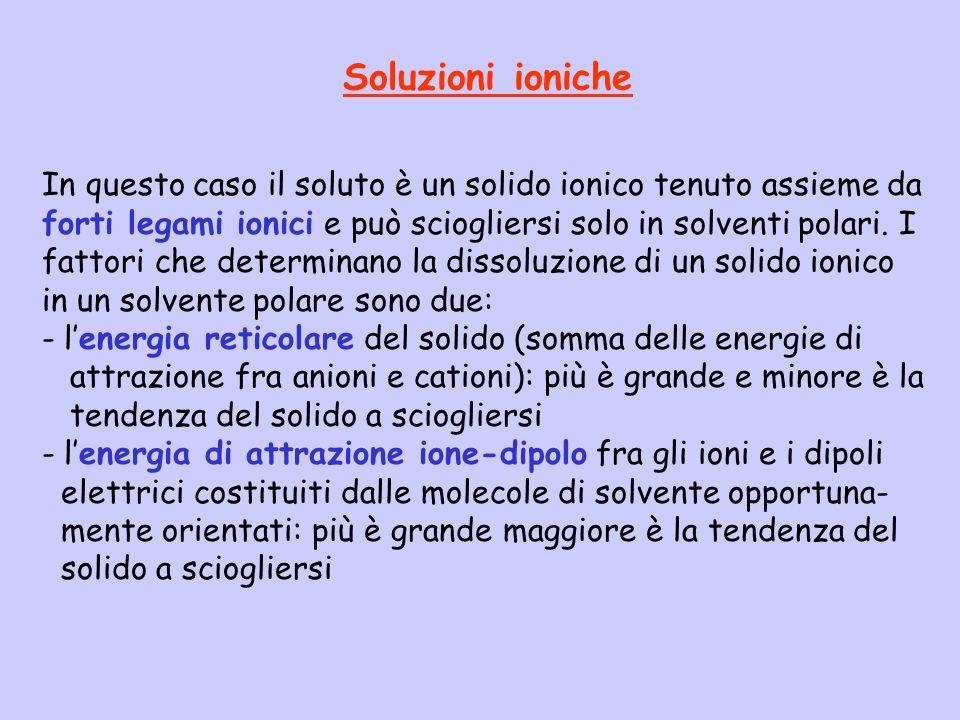 Soluzioni ioniche In questo caso il soluto è un solido ionico tenuto assieme da forti legami ionici e può sciogliersi solo in solventi polari. I fatto