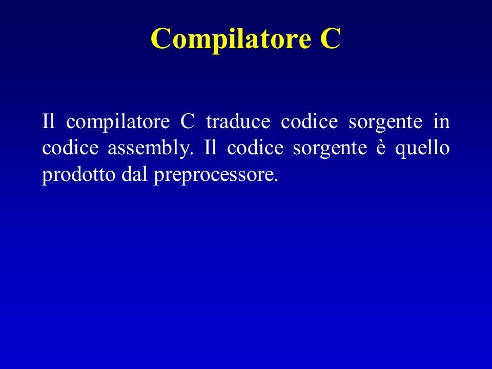 Compilatore C Il compilatore C traduce codice sorgente in codice assembly. Il codice sorgente è quello prodotto dal preprocessore.