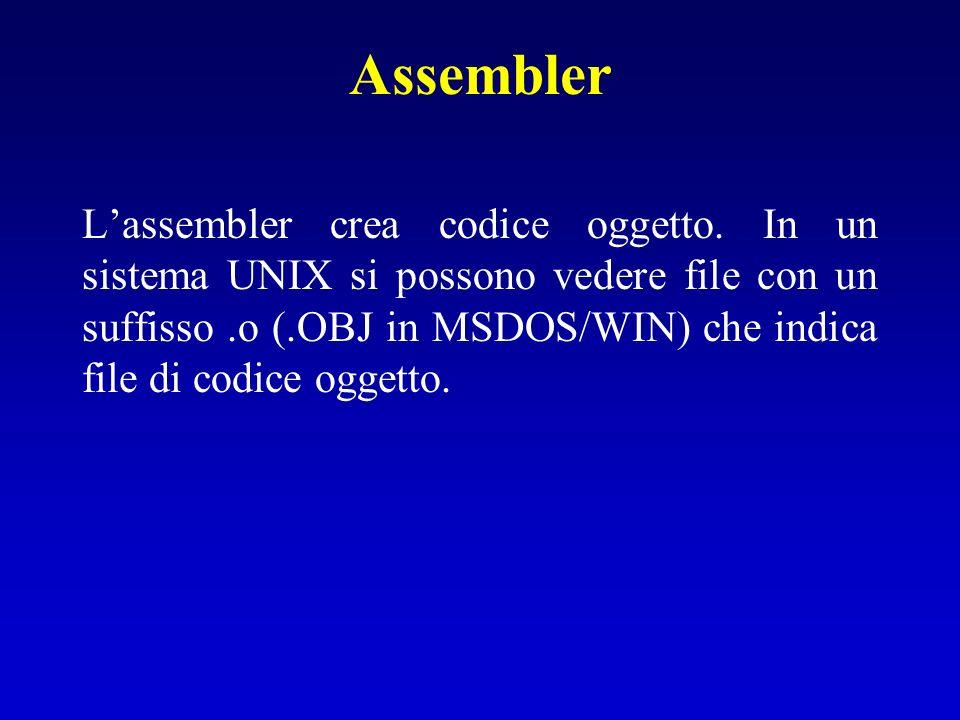 Assembler Lassembler crea codice oggetto. In un sistema UNIX si possono vedere file con un suffisso.o (.OBJ in MSDOS/WIN) che indica file di codice og