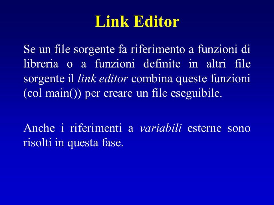Link Editor Se un file sorgente fa riferimento a funzioni di libreria o a funzioni definite in altri file sorgente il link editor combina queste funzi