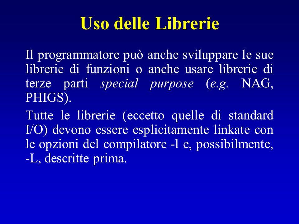 Uso delle Librerie Il programmatore può anche sviluppare le sue librerie di funzioni o anche usare librerie di terze parti special purpose (e.g. NAG,