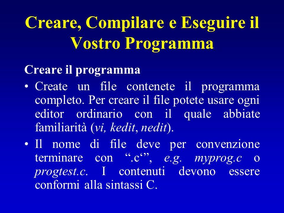 Creare, Compilare e Eseguire il Vostro Programma Creare il programma Create un file contenete il programma completo. Per creare il file potete usare o