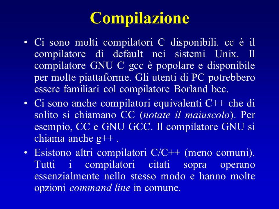Compilazione Ci sono molti compilatori C disponibili. cc è il compilatore di default nei sistemi Unix. Il compilatore GNU C gcc è popolare e disponibi