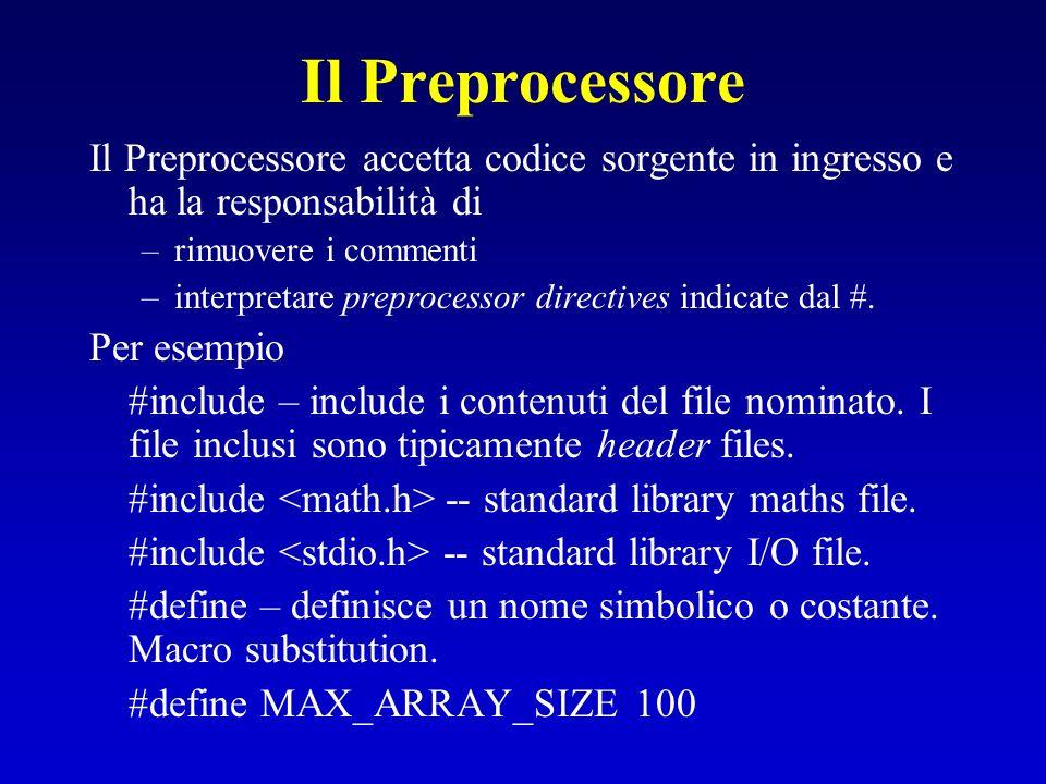 Il Preprocessore Il Preprocessore accetta codice sorgente in ingresso e ha la responsabilità di –rimuovere i commenti –interpretare preprocessor direc