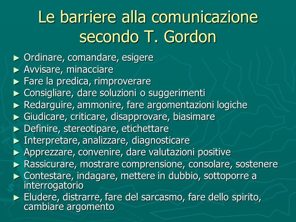 Le barriere alla comunicazione secondo T. Gordon Ordinare, comandare, esigere Ordinare, comandare, esigere Avvisare, minacciare Avvisare, minacciare F