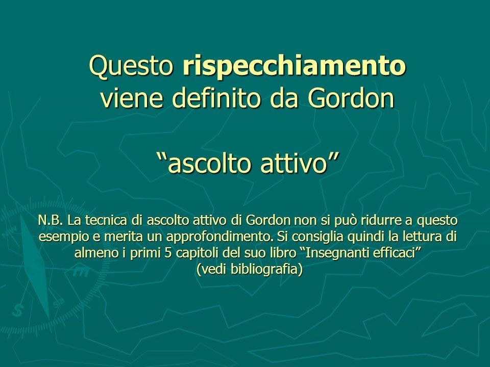 Questo rispecchiamento viene definito da Gordon ascolto attivo N.B. La tecnica di ascolto attivo di Gordon non si può ridurre a questo esempio e merit