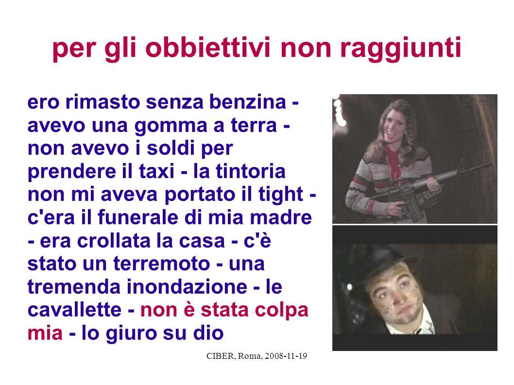 CIBER, Roma, 2008-11-19 per gli obbiettivi non raggiunti ero rimasto senza benzina - avevo una gomma a terra - non avevo i soldi per prendere il taxi