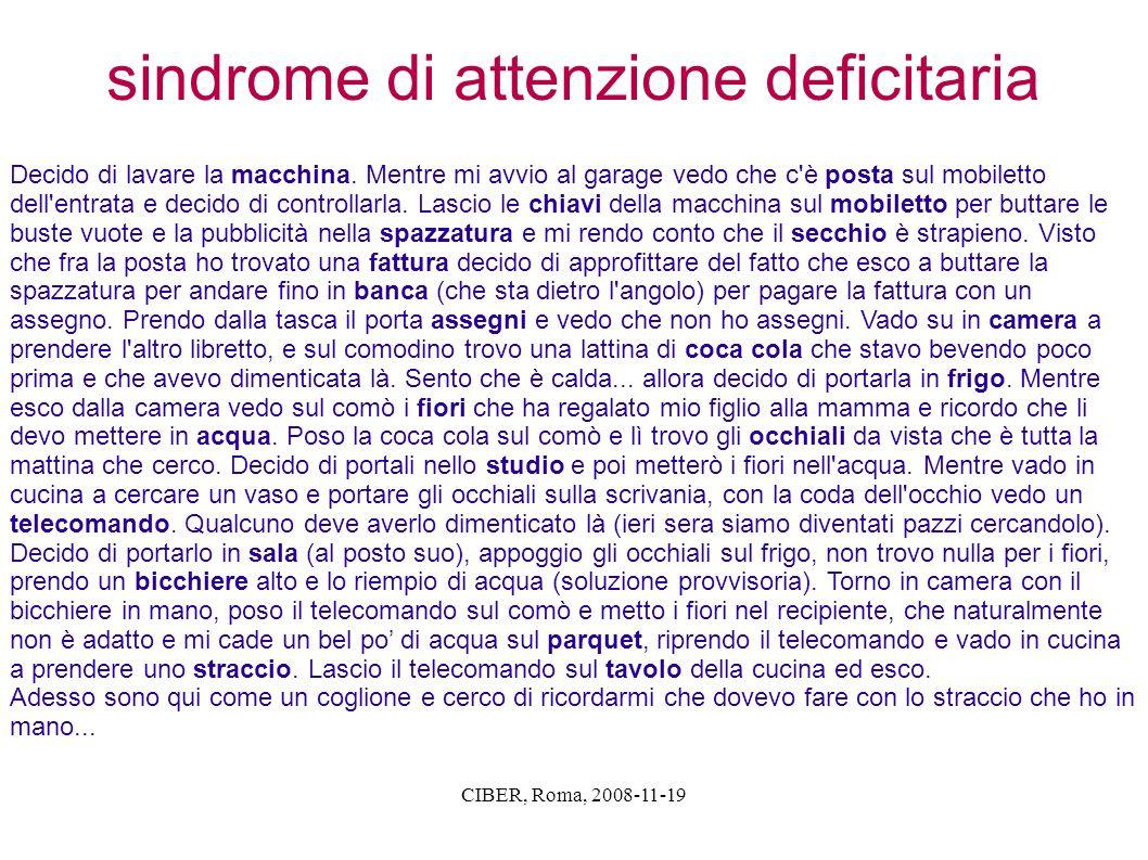 CIBER, Roma, 2008-11-19 sindrome di attenzione deficitaria Decido di lavare la macchina. Mentre mi avvio al garage vedo che c'è posta sul mobiletto de