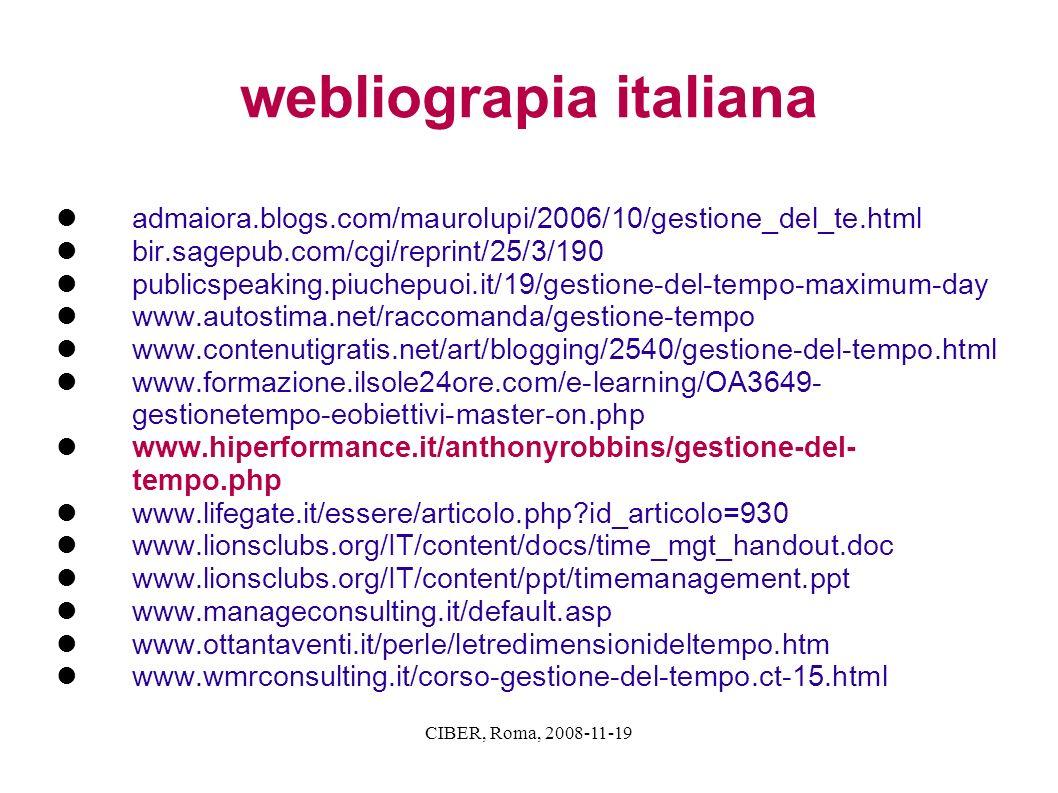 CIBER, Roma, 2008-11-19 webliograpia italiana admaiora.blogs.com/maurolupi/2006/10/gestione_del_te.html bir.sagepub.com/cgi/reprint/25/3/190 publicspe