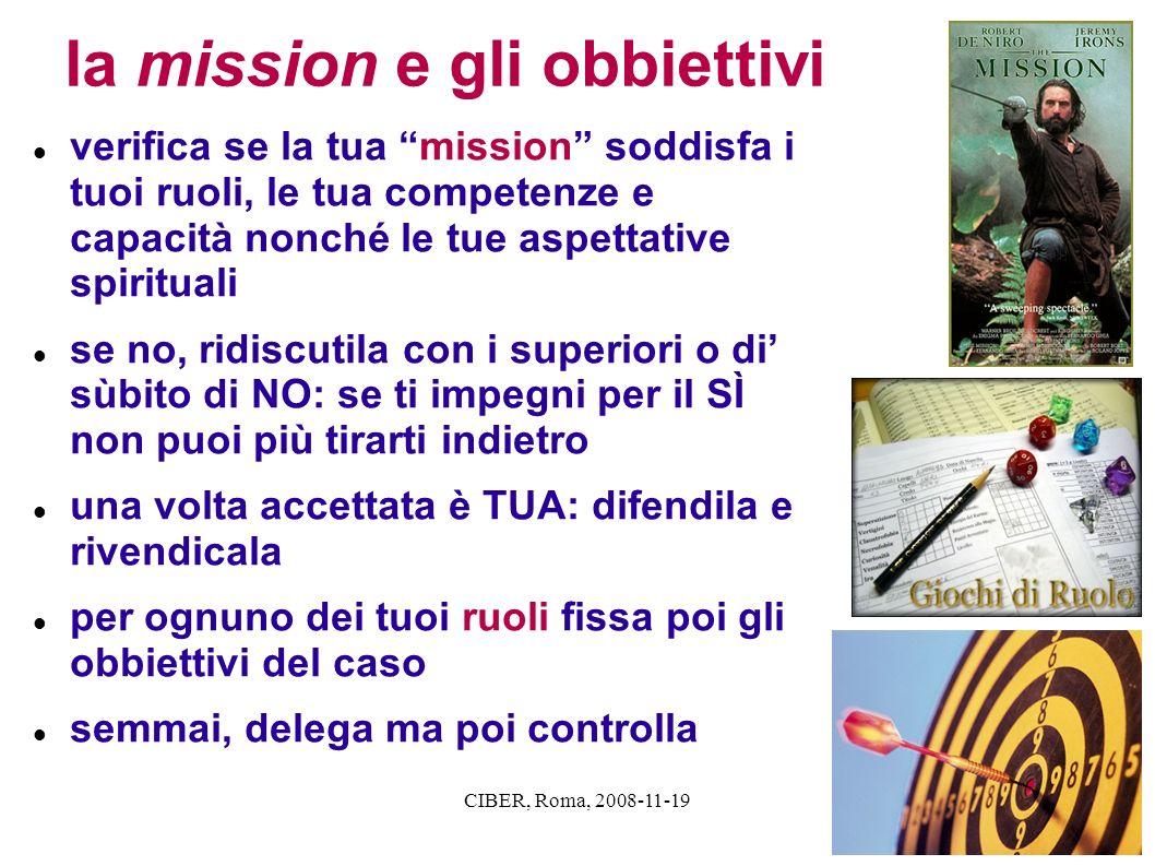 CIBER, Roma, 2008-11-19 la mission e gli obbiettivi verifica se la tua mission soddisfa i tuoi ruoli, le tua competenze e capacità nonché le tue aspet