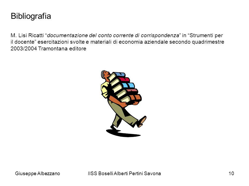 IISS Boselli Alberti Pertini Savona10 Bibliografia M. Lisi Ricatti documentazione del conto corrente di corrispondenza in Strumenti per il docente ese