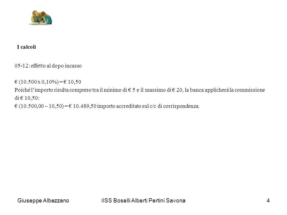 IISS Boselli Alberti Pertini Savona5 I calcoli Il prospetto competenze e spese: Interessi creditori fino al 30-11 = 148.847 x 1/36.500 = 4,08 Interessi creditori dal 01-12 al 31-12 = 101.528 x 1,50/36.500 = 4,17 Totale interessi lordi 8,25 -Ritenuta fiscale 27% su 8,25 2,23 Interessi creditori netti 6,02 Interessi debitori = 21.111 x 9,50/36.500 = 5,49 Massimo scoperto assoluto 2.344,50 Commissione sul massimo scoperto (2.344,50 x 0,50%) = 11,72 Poiché limporto risulta superiore al 25% degli interessi debitori, la commissione sarà limitata a (5,49 x 25%) = 1,37 Giuseppe Albezzano