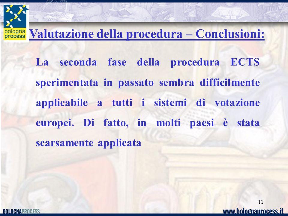 11 Valutazione della procedura – Conclusioni: La seconda fase della procedura ECTS sperimentata in passato sembra difficilmente applicabile a tutti i sistemi di votazione europei.