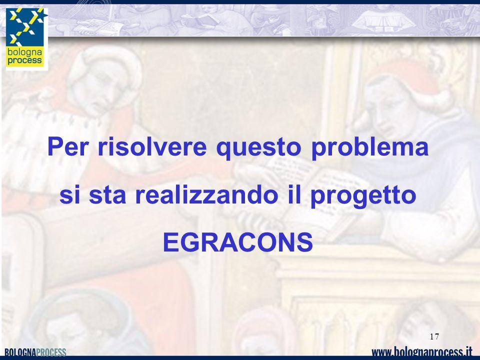 17 Per risolvere questo problema si sta realizzando il progetto EGRACONS