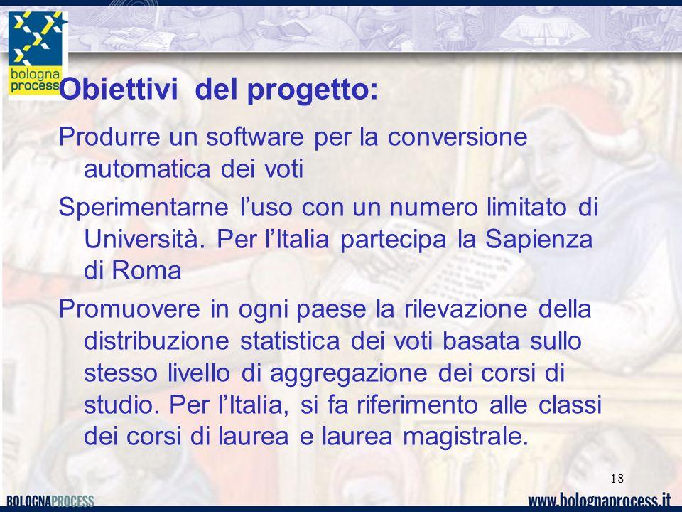 Obiettivi del progetto: Produrre un software per la conversione automatica dei voti Sperimentarne luso con un numero limitato di Università.