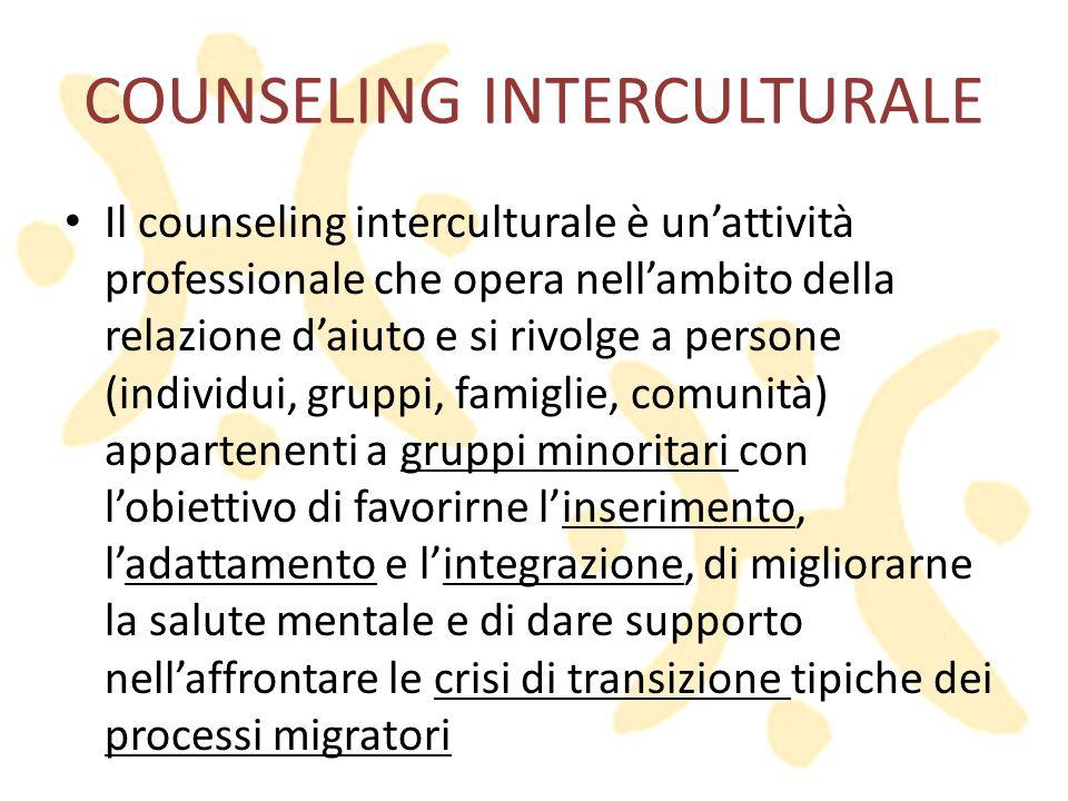 COUNSELING INTERCULTURALE Il counseling interculturale è unattività professionale che opera nellambito della relazione daiuto e si rivolge a persone (