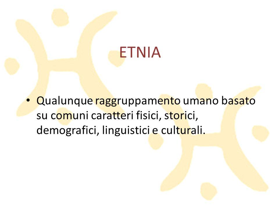 ETNIA Qualunque raggruppamento umano basato su comuni caratteri fisici, storici, demografici, linguistici e culturali.