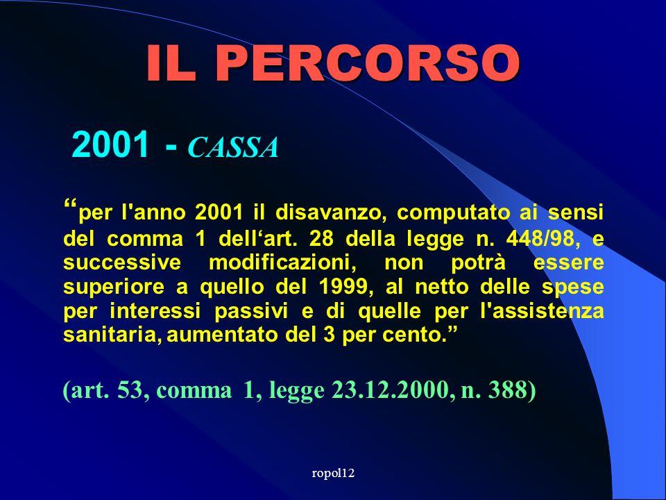 ropol12 IL PERCORSO 2000 - CASSA i comuni riducono per l anno 2000 il disavanzo definito dall articolo 28, comma 1, della legge n.