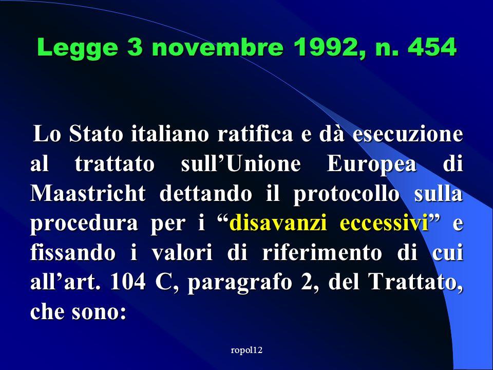 ropol12 Il Patto di stabilità interno Rappresenta il principale meccanismo volto ad adeguare la struttura della finanza pubblica territoriale italiana alle esigenze imposte dallappartenenza allUnione economica e monetaria.