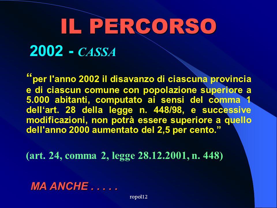 ropol12 IL PERCORSO 2001 - CASSA per l anno 2001 il disavanzo, computato ai sensi del comma 1 dellart.