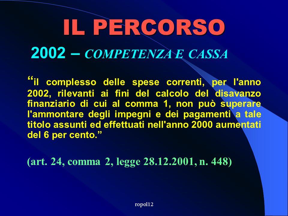 ropol12 IL PERCORSO 2002 - CASSA per l anno 2002 il disavanzo di ciascuna provincia e di ciascun comune con popolazione superiore a 5.000 abitanti, computato ai sensi del comma 1 dellart.