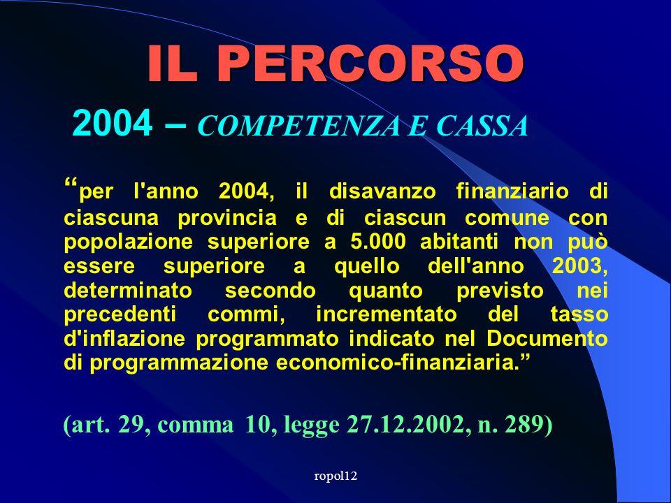 ropol12 IL PERCORSO 2003 – COMPETENZA E CASSA 6.