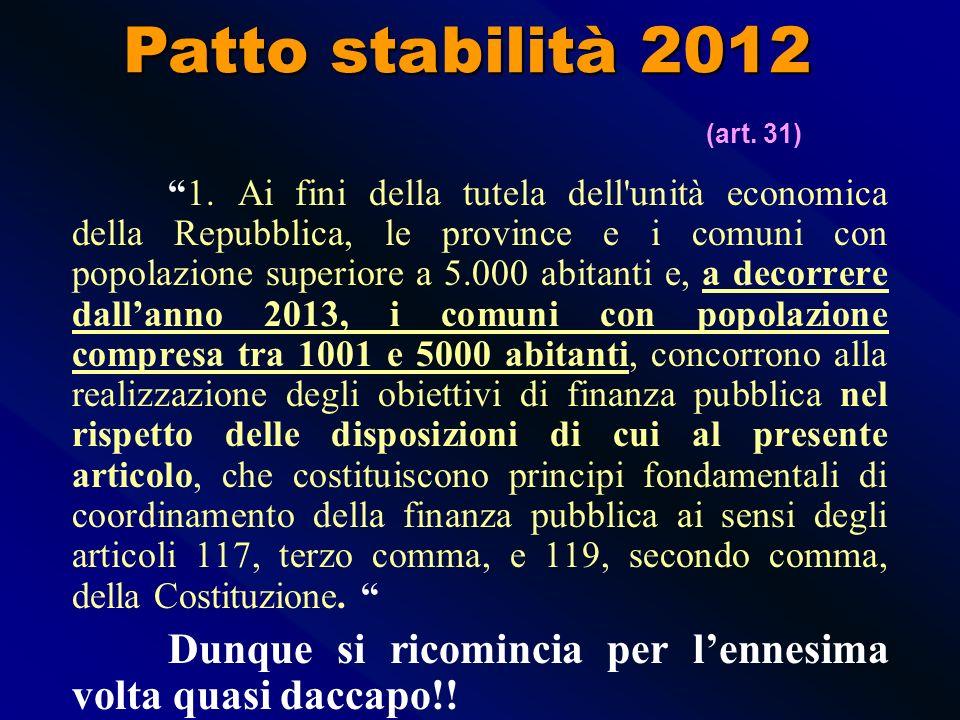 LEGGE DI STABILITA 12 novembre 2011, n. 183 Patto stabilità 2012