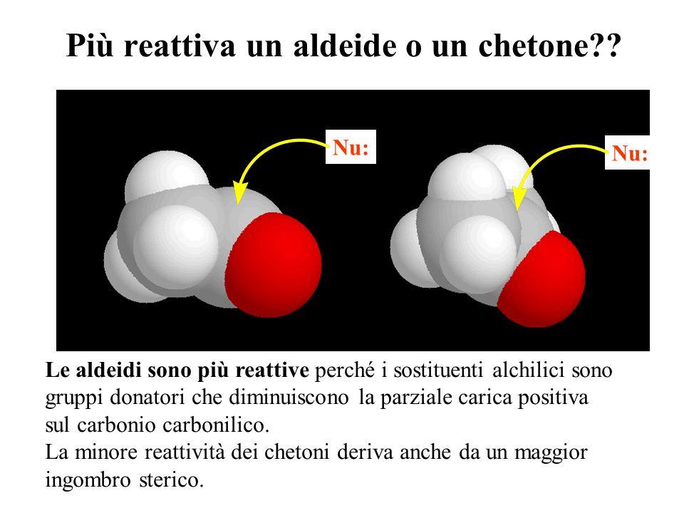 Più reattiva un aldeide o un chetone?? Le aldeidi sono più reattive perché i sostituenti alchilici sono gruppi donatori che diminuiscono la parziale c