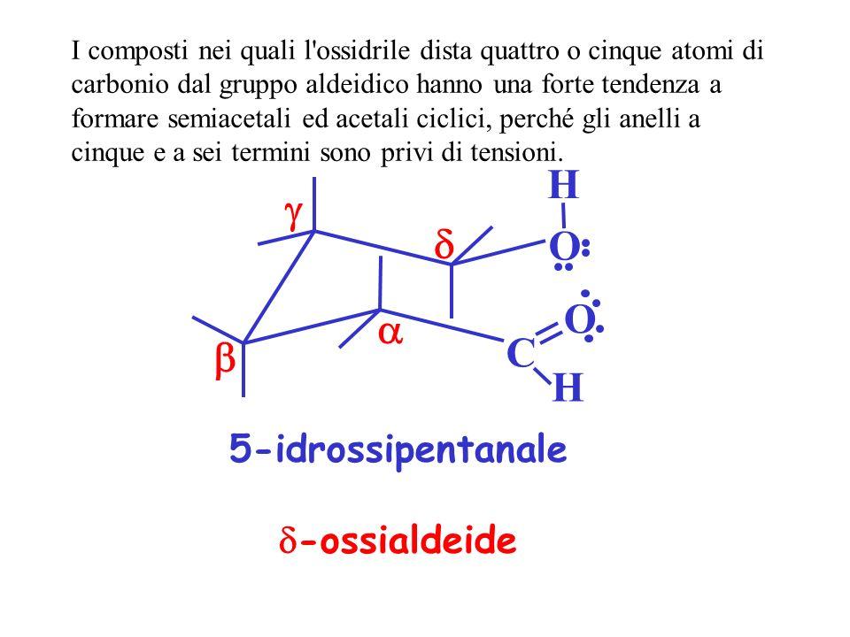 O C O H H 5-idrossipentanale -ossialdeide I composti nei quali l'ossidrile dista quattro o cinque atomi di carbonio dal gruppo aldeidico hanno una for