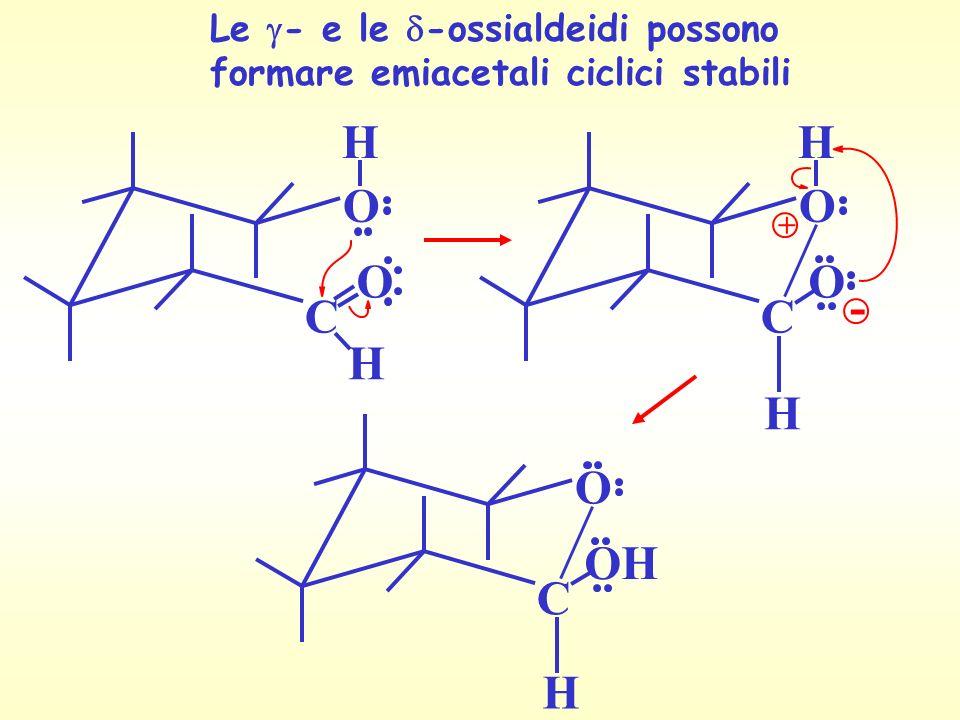 Le - e le -ossialdeidi possono formare emiacetali ciclici stabili O C O H H O C O H + - H O C OH H