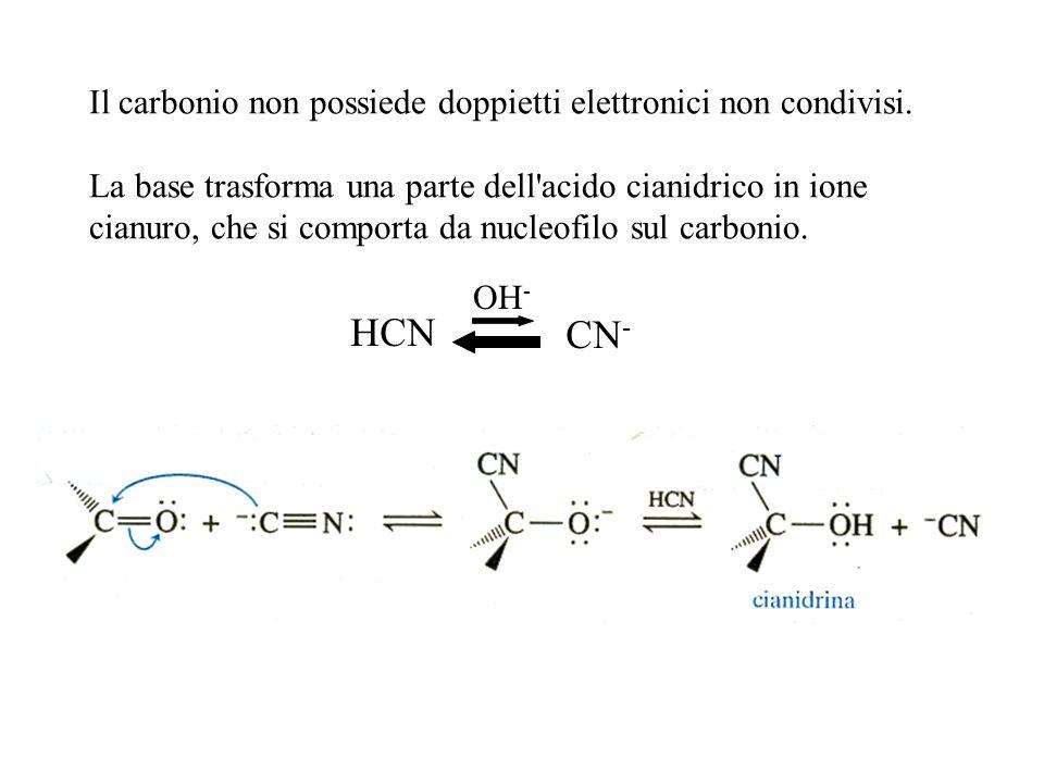 Il carbonio non possiede doppietti elettronici non condivisi. La base trasforma una parte dell'acido cianidrico in ione cianuro, che si comporta da nu